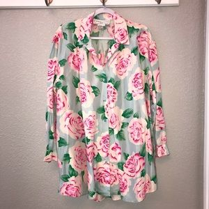 Adrienne Vittadini silk floral button tunic
